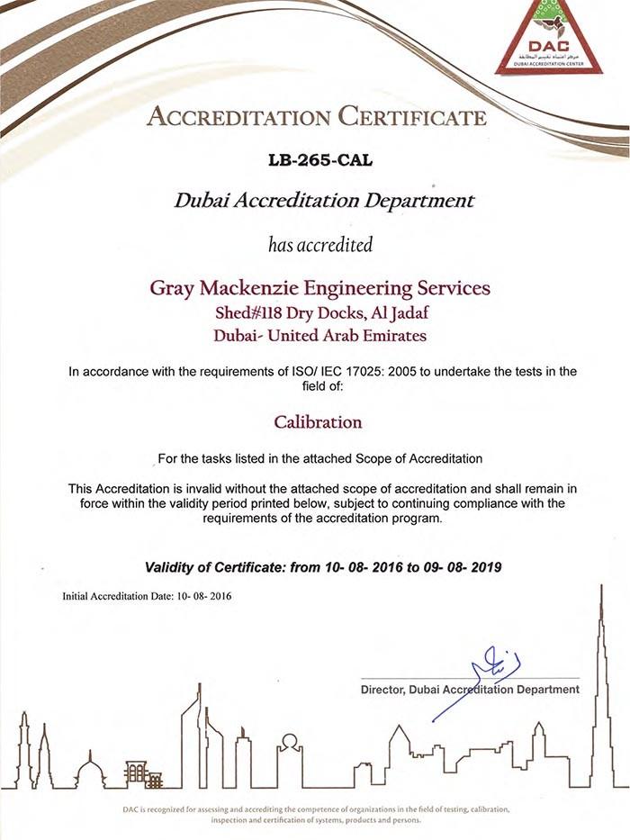DAC Certificate -LB-265-CAL - ISO 17025